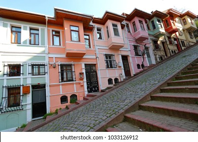 ISTANBUL, TURKEY JULY 21 2017: Colorful Houses in old city Balat. July 21 in Istanbul, Turkey.