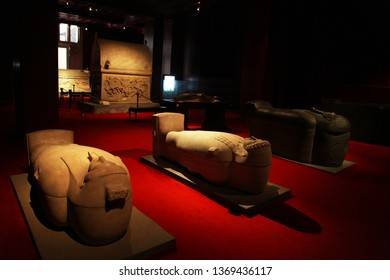 ISTANBUL, TURKEY - JULY 23: Istanbul Archeology Museum sarcophagus room on July 23, 2014 in Istanbul, Turkey. Museum over one million objects that represent almost all of the eras in world history.