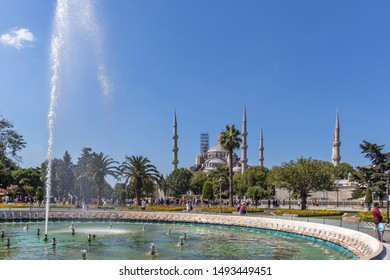 ISTANBUL, TURKEY - JULY 26, 2019: The Sultan Ahmed Mosque know as The Blue Mosque in city of Istanbul, Turkey