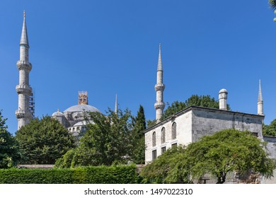 ISTANBUL, TURKEY - JULY 26, 2019: Sultan Ahmed Mosque know as The Blue Mosque in city of Istanbul, Turkey