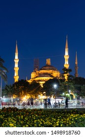 ISTANBUL, TURKEY - JULY 26, 2019: Night photo of Sultan Ahmed Mosque know as The Blue Mosque in city of Istanbul, Turkey