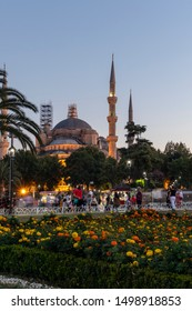 ISTANBUL, TURKEY - JULY 26, 2019: Sunset view of Sultan Ahmed Mosque know as The Blue Mosque in city of Istanbul, Turkey