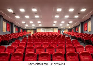 Istanbul, Turkey - July 27, 2018 ; Movie theater( Cinema hall ) with red seats, empty auditorium. Istanbul, Turkey.