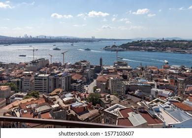 ISTANBUL, TURKEY - JULY 27, 2019: Amazing Panorama from Galata Tower to city of Istanbul, Turkey - Shutterstock ID 1577103607