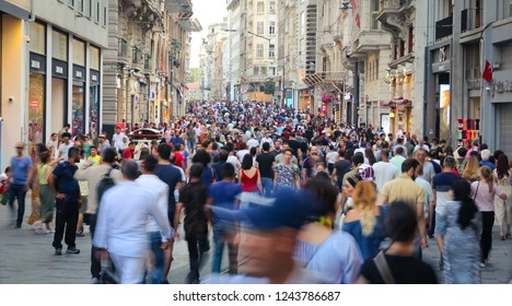 ISTANBUL, TURKEY - JULY 28, 2018: People on Istiklal Street. Istiklal Street is the most popular destination of Istanbul for shopping and entertainment.