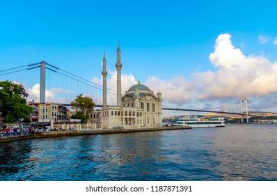 ISTANBUL, TURKEY – July 29 , 2018: Ortakoy mosque and Bosphorus bridge, Istanbul, Turkey.