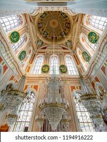 ISTANBUL, TURKEY – July 29 , 2018: Interior of a  Ortakoy mosque. Istanbul, Turkey.