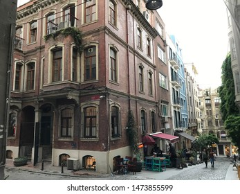 Istanbul, Turkey - July 29, 2019: Cityscape and street view from the historical area of Asmalimescit in Beyoglu, Istanbul.