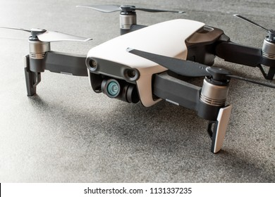 Istanbul, Turkey - July 3, 2018: DJI MAVIC AIR - Compact Drone by DJI with 12 MP 4K HDR camera, mounted on a 3-axis gimbal. Camera and sensors view. Technological Equipment.
