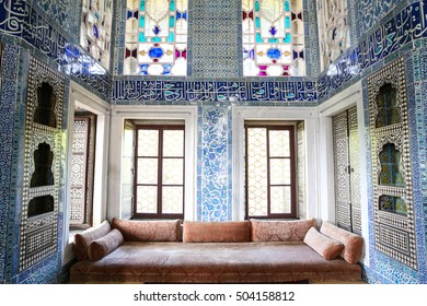 ISTANBUL, TURKEY - JULY 30, 2016: Inside of a room in Topkapi Palace. Topkapi Palace was one of the major residences of the Ottoman sultans for almost 400 years