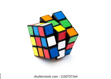 ISTANBUL - TURKEY - JULY 30, 2018: Rubik's cube on the black background. Rubik's Cube invented by a Hungarian architect Erno Rubik in 1974.