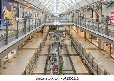 ISTANBUL, TURKEY, JULY 5, 2017: Interior shot from Metrocity AVM, a modern shopping mall on the Büyükdere Avenue in the finance and business quarter of 1. Levent in Istanbul, Turkey.
