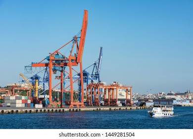 ISTANBUL, TURKEY - JULY 5, 2019: Haydarpasa Port and Container Terminal in Kadikoy Seaside in Istanbul, Turkey. Terminal is main trading port in Asian side of the city.