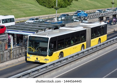 ISTANBUL, TURKEY - JULY 7, 2019: Metrobus, a part of public transportation system, eases the traffic in Istanbul. Istanbul public transport, vehicle called Metrobus goes own way with non traffic.