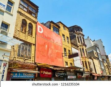 Istanbul, Turkey - July 8, 2018. Typical buildings of the Fermeneciler street, Karakoy district. Istanbul, Turkey.