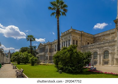 ISTANBUL, TURKEY - JUN 22, 2014: The picturesque facade of the palace of the Ottoman sultans Dolmabahce facing the Bosporus
