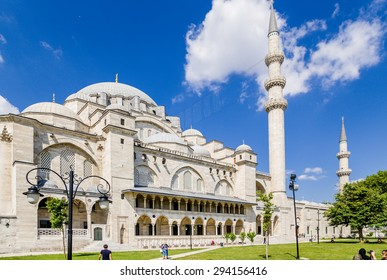 ISTANBUL, TURKEY - JUN 22, 2014: Courtyard Suleymaniye Mosque and minarets, 1557