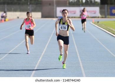 ISTANBUL, TURKEY - JUNE 02, 2018: Athletes running during Turkish Athletics U18 Championships