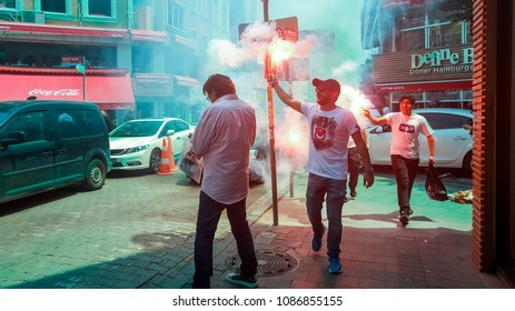Istanbul, Turkey - June 03, 2017: Besiktas (BJK) fans celebrating championship during the day in Istanbul streets