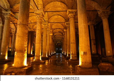 ISTANBUL, TURKEY - JUNE 03, 2018: Columns inside Basilica Cistern. The Basilica Cistern is the largest of several hundred ancient cisterns that lie beneath the city of Istanbul.
