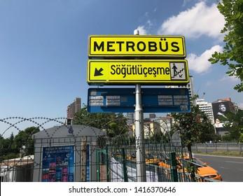 ISTANBUL, TURKEY - JUNE 05, 2019: Metrobus sign at Zincirlikuyu ,on June 05, 2019 in Istanbul, Turkey
