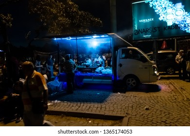 Istanbul, Turkey - June 06, 2013: Gezi Park protesters and food sellers in a van at night.