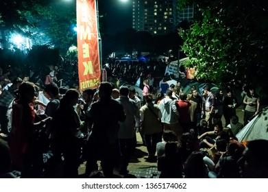 Istanbul, Turkey - June 06, 2013: Civilians visiting the Gezi Park and Taksim Square Gezi Park protests at night.