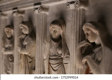 ISTANBUL, TURKEY - JUNE 06, 2020: Sarcophagus of the Crying Women in Istanbul Archaeological Museums, Istanbul City, Turkey