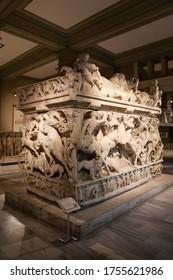 ISTANBUL, TURKEY - JUNE 06, 2020: Sidamara Sarcophagus in Istanbul Archaeological Museums, Istanbul City, Turkey