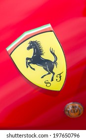 ISTANBUL, TURKEY - JUNE 07, 2014: Ferrari Logo in Istanbul Concours d'Elegance. Concours d'Elegance referring to the gathering of prestigious cars over 100 years.