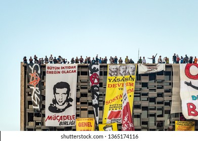 Istanbul, Turkey - June 08, 2013: Civilians at the roof of Ataturk Culture Center (AKM) building during the Gezi Park protests.
