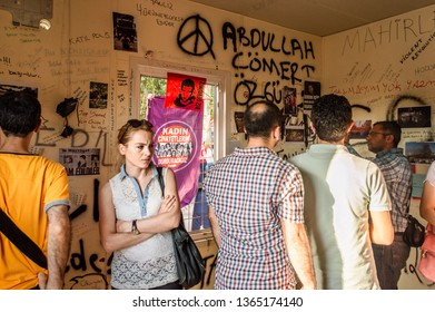 Istanbul, Turkey - June 08, 2013: The prefabricated police station in Taksim Gezi Park is used by the activists in this way by the name 'Revolution Museum'.