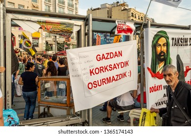 Istanbul, Turkey - June 08, 2013: Banner in Taksim Square during  Gezi Park protests.