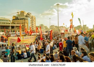 Istanbul, Turkey - June 08, 2013: Civilians visiting the Gezi Park and Taksim Square Gezi Park protests.