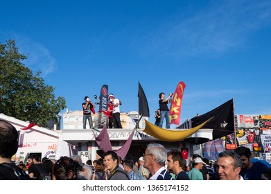 Istanbul, Turkey - June 08, 2013: People at Taksim Square to protest against replacing Taksim Gezi Park.