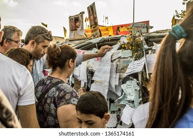 Istanbul, Turkey - June 08, 2013: Wish notes attached by people during the Gezi Park protests.
