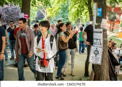 Istanbul, Turkey - June 08, 2013: Civilians visiting the Gezi Park during the protests.
