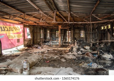 Istanbul, Turkey - June 08, 2013: Ruined building interior during the Gezi Park protests. Text on the banner: Capulcu Wedding Area