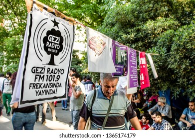 Istanbul, Turkey - June 08, 2013: Some notices attached on a rope during the protests against demolition of Taksim Gezi Park.
