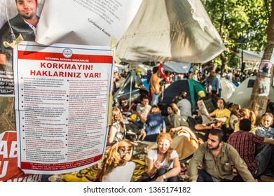 Istanbul, Turkey - June 08, 2013: A notice from Istanbul Bar Association attached on a tree during the protests against demolition of Taksim Gezi Park.