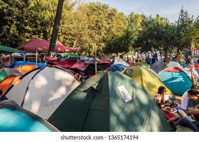 Istanbul, Turkey - June 08, 2013: People living in tents during the protests against demolition of Taksim Gezi Park.