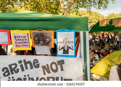 Istanbul, Turkey - June 08, 2013: Some caricatures attached on tents during the protests against demolition of Taksim Gezi Park.