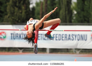 ISTANBUL, TURKEY - JUNE 09, 2018: Undefined athlete high jumping during Balkan U18 Athletics Championships