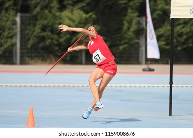 ISTANBUL, TURKEY - JUNE 09, 2018: Undefined athlete javelin throwing during Balkan U18 Athletics Championships