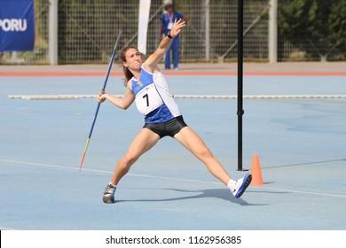 ISTANBUL, TURKEY - JUNE 09, 2018: Undefined athlete javelin throwing during Balkan U18 Athletics Championships