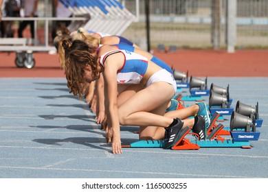 ISTANBUL, TURKEY - JUNE 09, 2018: Athletes running during Balkan U18 Athletics Championships