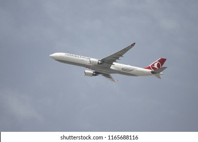 ISTANBUL, TURKEY - JUNE 09, 2018: Turkish Airlines Airbus A330-303 (CN 1487) takes off from Istanbul Ataturk Airport. THY is the flag carrier of Turkey with 338 fleet size and 300 destinations