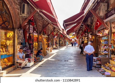 ISTANBUL, TURKEY - JUNE 10, 2018 : Arasta Bazaar of istanbul. Famous oriental market located in old town near the Blue Mosque locals and tourists visit for shopping carpets towels and oriental goods.