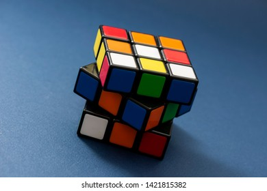 ISTANBUL - TURKEY - JUNE 10, 2019: Rubik's cube on the dark blue background. Rubik's Cube invented by a Hungarian architect Erno Rubik in 1974.