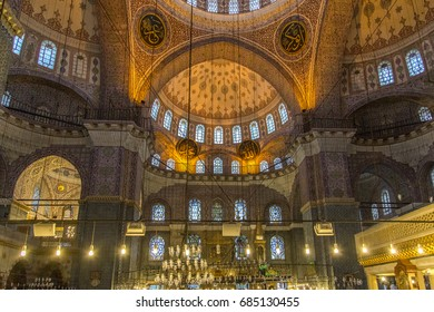 ISTANBUL, TURKEY - JUNE 11, 2014: Interior of Yeni Cami (New Mosque, previously named Valide Sultan Cami) in Istanbul, Turkey. Yeni Cami is an Ottoman imperial mosque located in Fatih district.